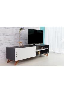 Rack Tv Preto Moderno Vintage Retrô Com Porta De Correr Branca Freddie - 180X43,6X48,5 Cm