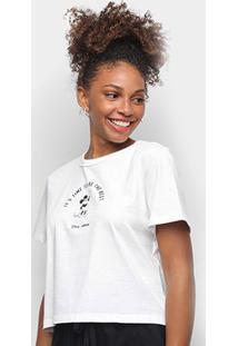 Camiseta Colcci Cropped Disney Mickey Feminina - Feminino-Marrom