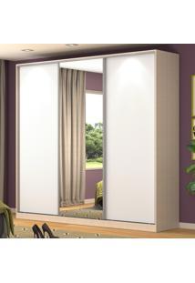 Guarda-Roupa Casal 3 Portas Correr 1 Espelho 100% Mdf Rc3001 Noce/Branco - Nova Mobile