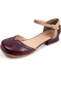 Sapato Boneca Em Couro Miuzzi Vinho - Vinho - Feminino - Couro LegãTimo - Dafiti