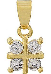 Pingente Narcizza Semijoias Flor Quadradinho Cristal Ouro - Kanui