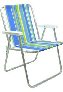 Cadeira Praia Mor Alta Alumínio Cores Diversas