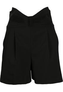 Redvalentino Tuxedo Bow Detail High-Waisted Shorts - Preto