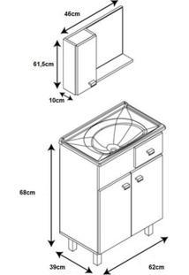 Gabinete Para Banheiro Com Cuba E Espelheira Tampo De Vidro 62Cm Classic Móveis Bonatto Branco