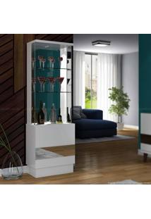 Cristaleira Com Espelho 2 Portas New Vina Com Led 100% Mdf Branco - Dj Móveis
