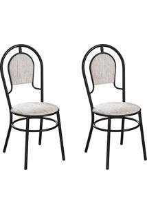 Conjunto Com 2 Cadeiras Hobart Palha E Preto