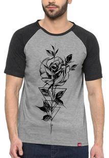 Camiseta Raglan Rosa Geométrica - Masculino