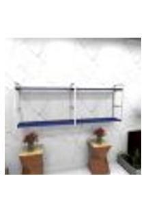 Estante Estilo Industrial Sala Aço Cor Branco 180X30X68Cm (C)X(L)X(A) Cor Mdf Azul Modelo Ind36Azsl