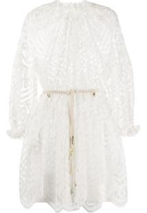Zimmermann Vestido Mini Com Renda - Branco