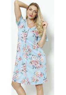 Camisola Floral Com Botãµes & Renda- Azul Claro & Rosa