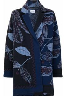 Salvatore Ferragamo Blazer De Tricô Com Estampa De Folhas - Azul
