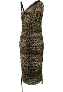 Dolce & Gabbana Vestido Franzido Com Animal Print - Neutro