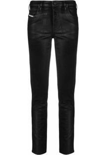 Diesel Calça Jeans Skinny Cintura Média De Couro - Preto
