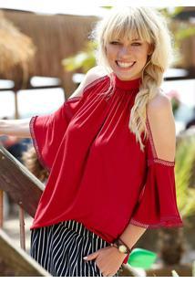 Blusa Ombro Vazado Com Babados Vermelho