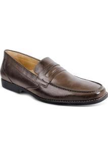 Sapato Social Masculino Loafer Sandro & Co Leonil - Masculino-Marrom Escuro
