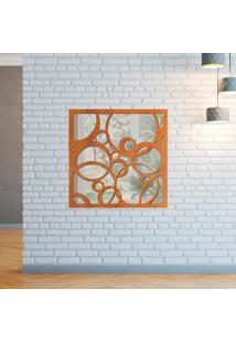 Escultura De Parede Wevans Abstract, Madeira + Espelho Decorativo -