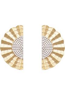 Brinco Prata Mil Leque Ondulado Estampado Reticulado Com Ródio Dourado
