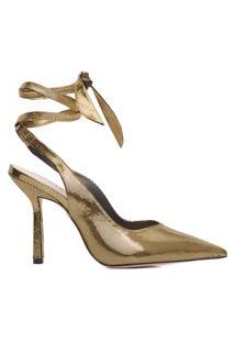 Scarpin Lace-Up Metallic - Dourado