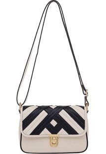 Bolsa Smartbag Couro Recortes - 73026.18 - Feminino-Off White