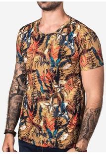 Camiseta Hermoso Compadre Khaki Foliage Masculina - Masculino-Laranja