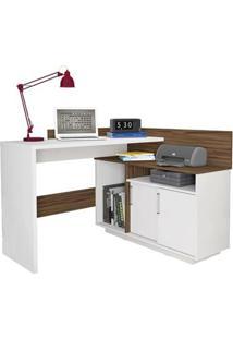 Escrivaninha Mega Office Branco Ac /Amendoa Rlv
