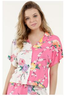 Camisa Feminina Estampa Floral Manga Curta Marisa