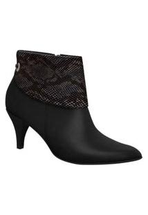 Bota Feminino Ankle Boot Bico Fino Piccadilly 745060 Preto