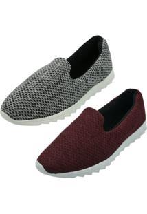 Kit 2 Pares Tênis Confort Sand Shoes Bordô/Cinza