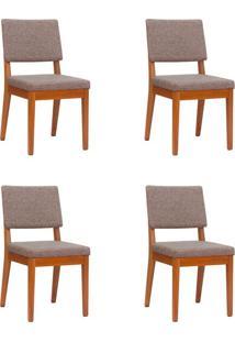 Conjunto Com 4 Cadeiras De Jantar Ella Alpha E Natural