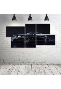 Quadro Decorativo - Rolls-Royce-Wraith-Black - Composto De 5 Quadros - Multicolorido - Dafiti
