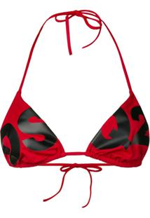 Dsquared2 Logo Print String Bikini Top - Vermelho