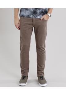 Calça Masculina Skinny Em Sarja Com Bolsos Kaki