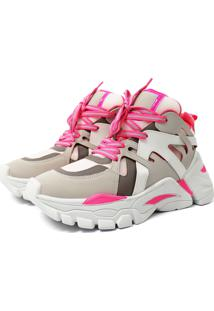 Tênis Sneaker Chunky Damannu Shoes Judy Rosa Neon