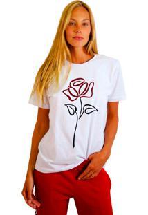 Camiseta Joss Feminina Flor Em Linha Branco
