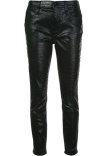 Frame Calça Jeans Com Efeito De Pele De Crocodilo - Preto