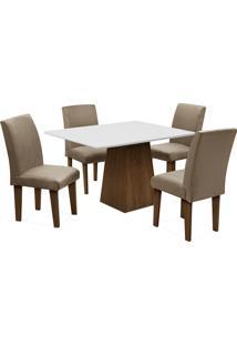 Conjunto De Mesa Para Sala De Jantar Com 4 Cadeiras Florença Fit-Dobue - Castanho / Branco Off / Mascavo