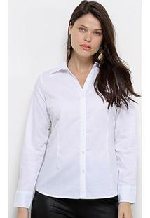 Camisa Social Facinelli Manga Longa Feminina - Feminino-Branco