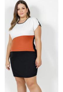 Vestido Curto Preto Com Recortes Plus Size