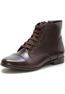 Bota Casual Couro Dia A Dia Doc Shoes Feminina - Feminino-Café