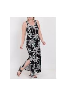 Vestido Longo Plus Size Lunender Feminino Preto