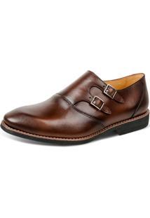 Sapato Linha Premium Monk Strap Sandro Moscoloni 16200 Marrom Escuro