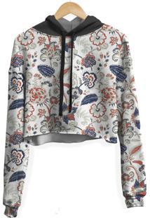 Blusa Cropped Moletom Feminina Floral Ilustraã§Ã£O Curl - Branco - Feminino - Poliã©Ster - Dafiti