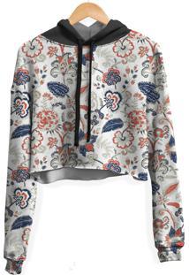 Blusa Cropped Moletom Feminina Floral Ilustração Curl