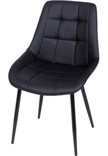 Cadeira Lounge Courino Preto Com Costura Quadriculada - 50021 - Sun House
