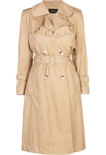 Simone Rocha Trench Coat Com Cinto E Detalhe Franzido - Neutro