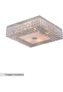 Plafon Quadrado Colmeia Com Pingentes - Cristal & Inox