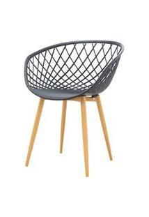 Cadeira Clarice Assento Em Polipropileno Preto Com Base Palito Cor Madeira - 45018 Preto