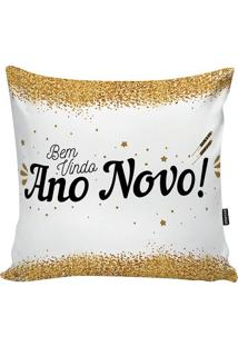 Capa De Almofada Com Inscriã§Ã£O- Branca & Dourada- 45Stm Home