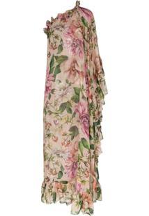 Dolce & Gabbana Vestido Ombro Único Com Estampa De Rosa