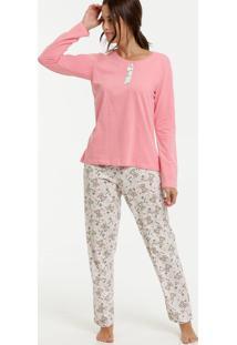 Pijama Feminino Estampa Urso Manga Longa